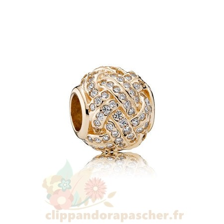 Discount Pandora Pandora Collections Breloque Sparkling Amour Knot 14K Or Clear Cz