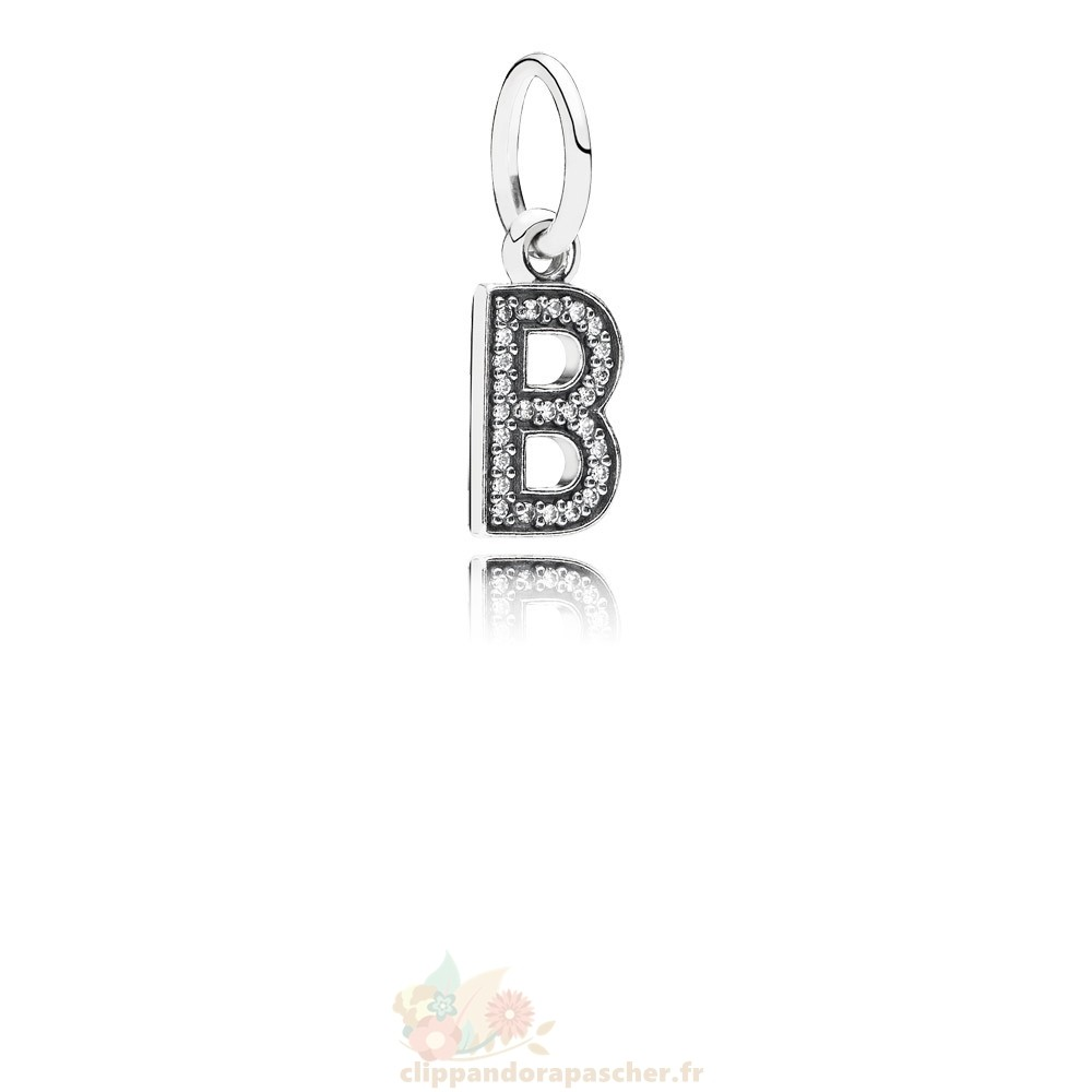 Discount Pandora Pandora Alphabet Symbols Charms Lettre B Dangle Charm Clear Cz