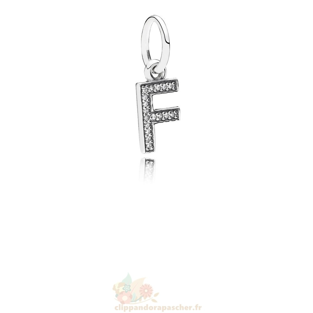 Discount Pandora Pandora Alphabet Symbols Charms Lettre F Dangle Charm Clear Cz