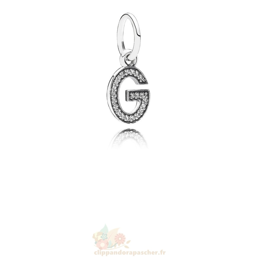 Discount Pandora Pandora Alphabet Symbols Charms Lettre G Dangle Charm Clear Cz