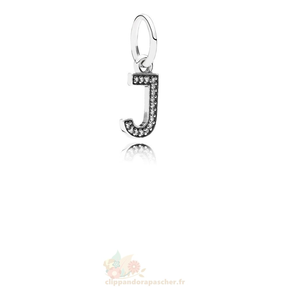 Discount Pandora Pandora Alphabet Symbols Charms Lettre J Dangle Charm Clear Cz