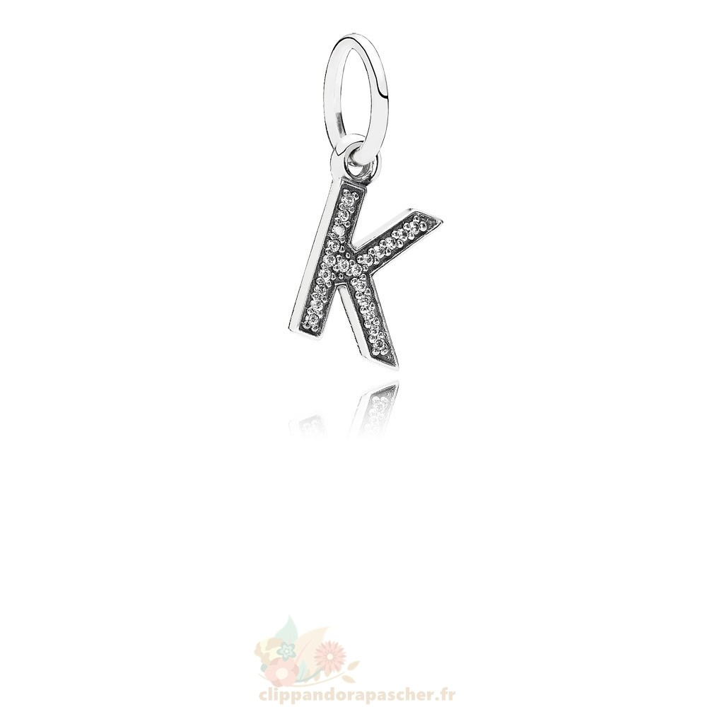 Discount Pandora Pandora Alphabet Symbols Charms Lettre K Dangle Charm Clear Cz