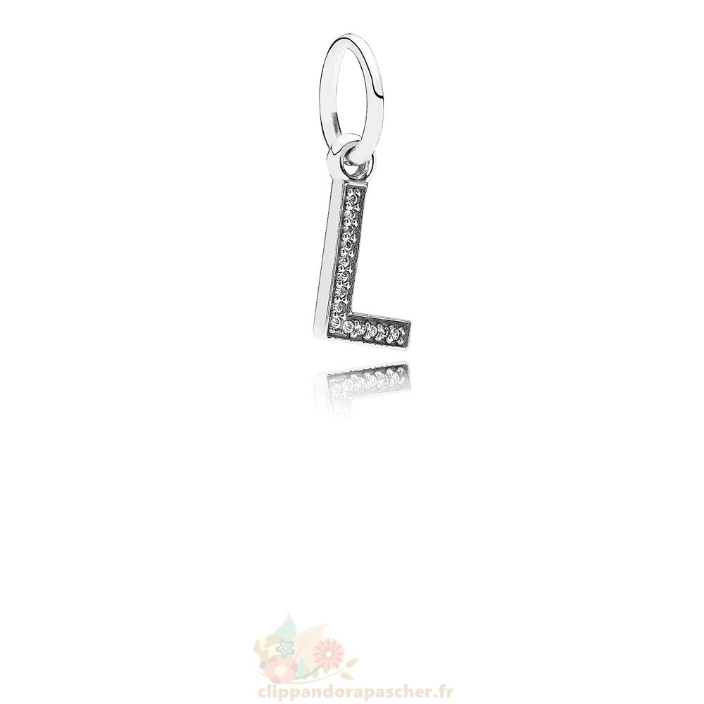 Discount Pandora Pandora Alphabet Symbols Charms Lettre L Dangle Charm Clear Cz