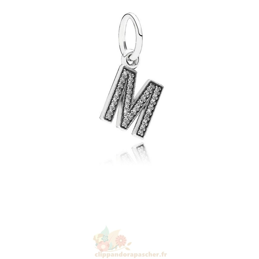 Discount Pandora Pandora Alphabet Symbols Charms Lettre M Dangle Charm Clear Cz