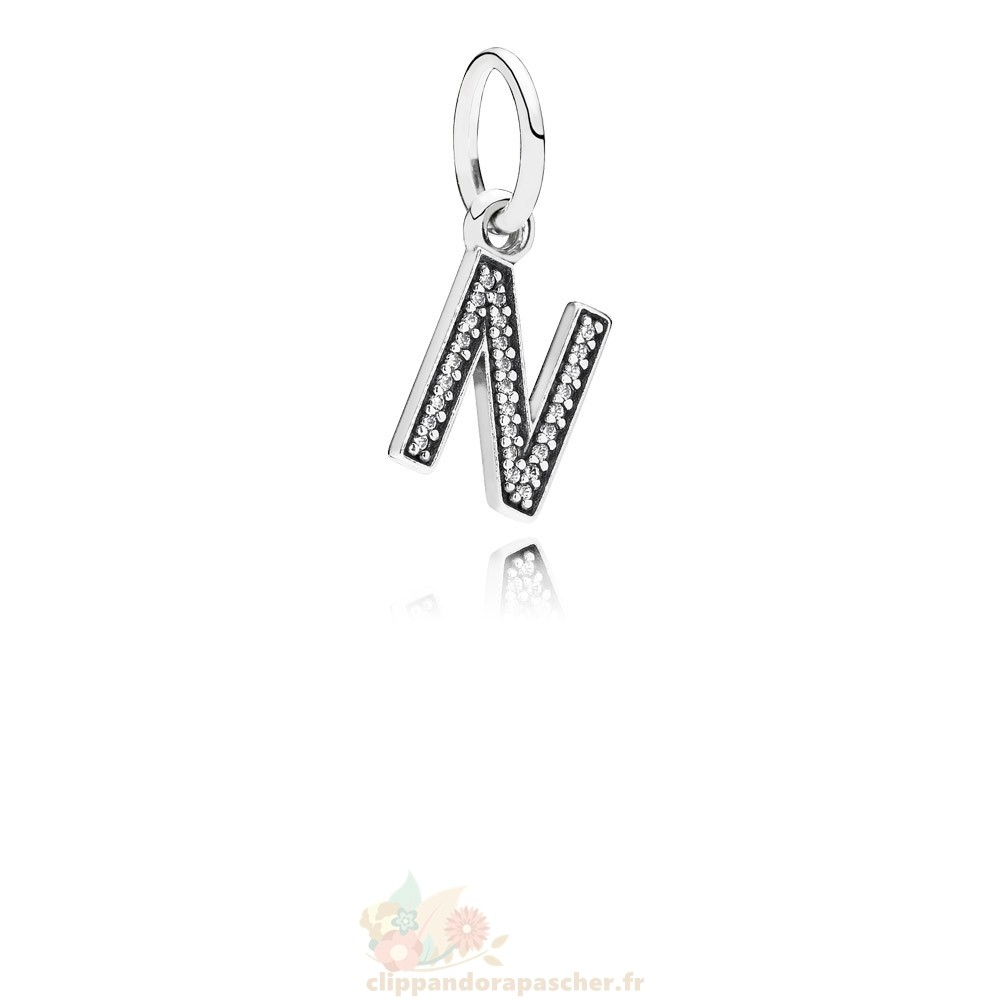 Discount Pandora Pandora Alphabet Symbols Charms Lettre N Dangle Charm Clear Cz