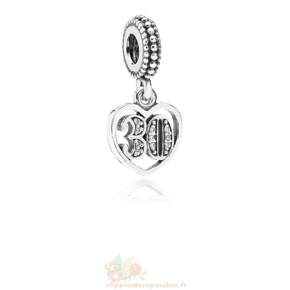 Discount Pandora Pandora Mariage Anniversaire Charms 30 Annees D'Amour Dangle Charm Clear Cz