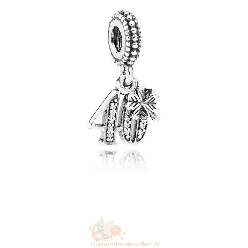 Discount Pandora Pandora Mariage Anniversaire Charms 40 Annees D'Amour Dangle Charm Clear Cz