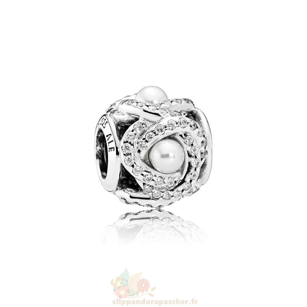 Discount Pandora Pandora Mariage Anniversaire Charms Luminous Amour Knot Blanc Crystal Pearl Clear Cz