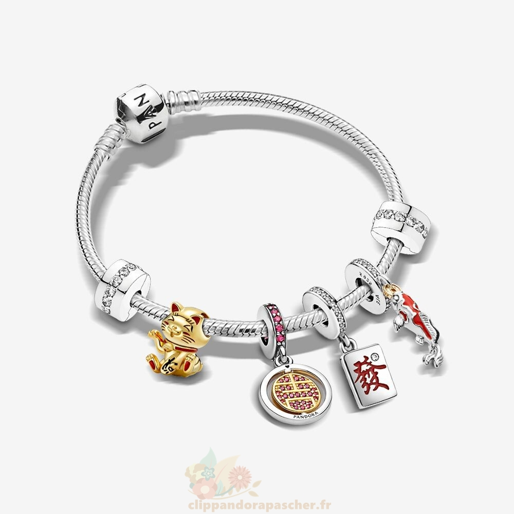 Discount Pandora Bonne Chance Bracelets Ensemble