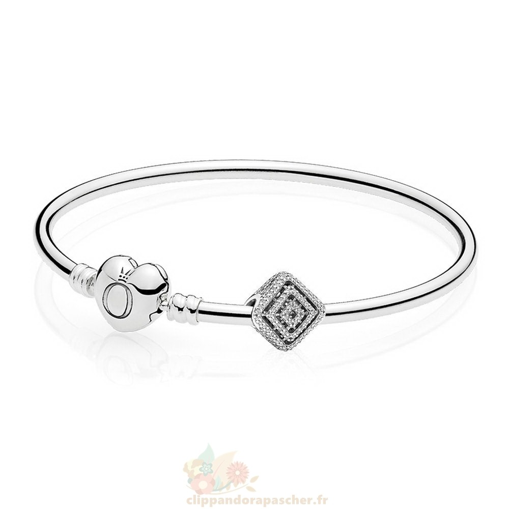 Discount Pandora Geometric Lines Bangle Set