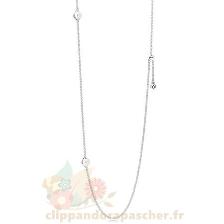 Discount Pandora Pandora Chaines Avec Pendentif Lumineux Dainty Droplets Collier Blanc Crystal Pearl