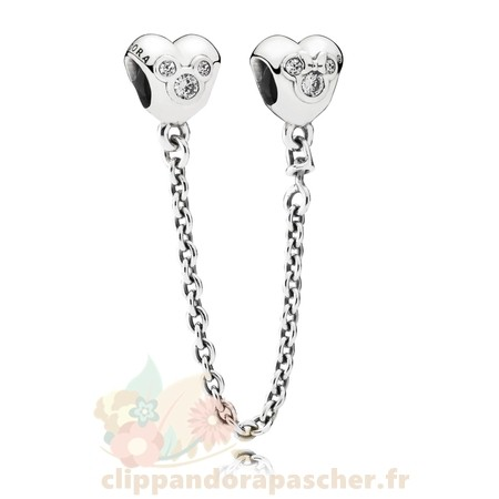 Discount Pandora Chaines De Securite Disney Coeur De Mickey Chaine De Securite Clear Cz