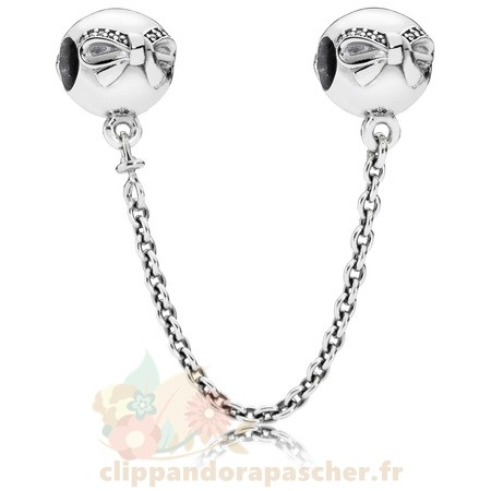 Discount Pandora Pandora Chaines De Securite Dainty Bow Safety Chain Clear Cz