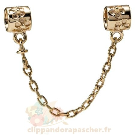 Discount Pandora Pandora Chaines De Securite Fleur Charm Chaine De Securite 14K Or