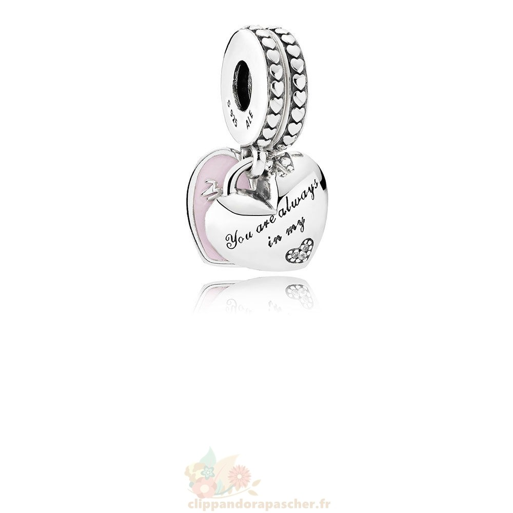 Discount Pandora Dangles Mere Fille Coeurs Dangle Soft Rose Email Clear Cz