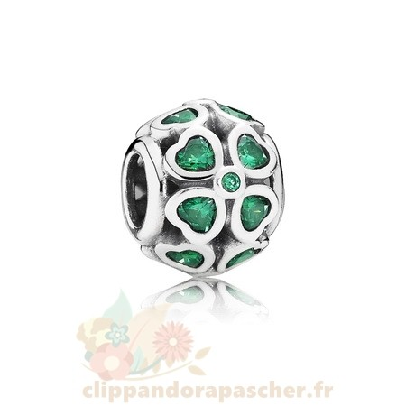 Discount Pandora Journee Pandora Saint Patrick Bonne Chance Charms Vert Lucky Trefle Dark Vert Cz