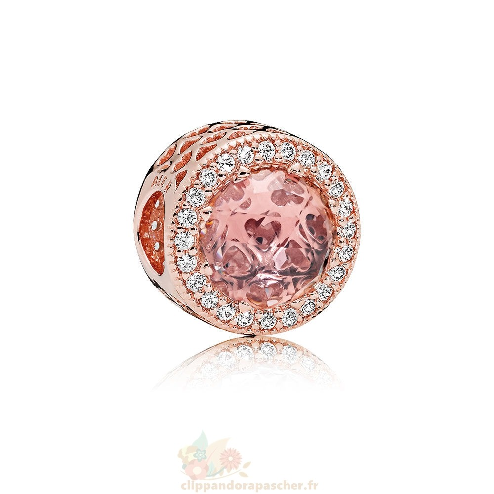 Discount Pandora Pandora Breloque De Couleur Charms Radiant Coeurs Charm Pandora Rose Blush Crystal Clear Cz