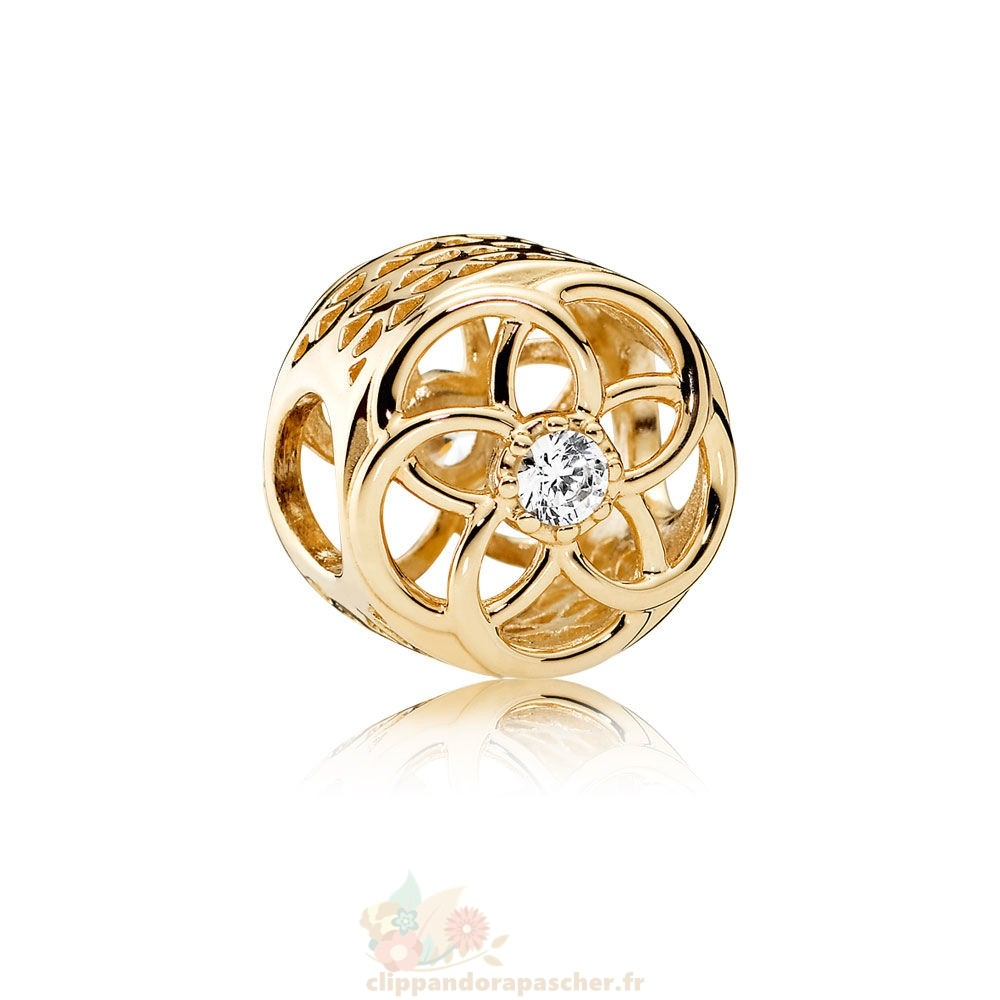 Discount Pandora Pandora Charms Charme Charme Bloom 14K Or Clear Cz