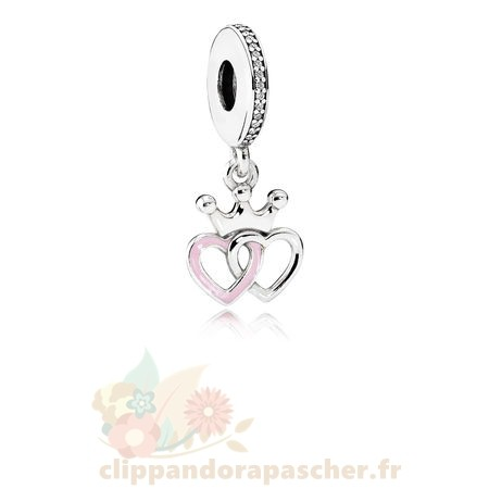 Discount Pandora Pandora Fairy Tale Charms Crowned Coeurs Dangle Charm Orchid Rose Enamel Clear Cz