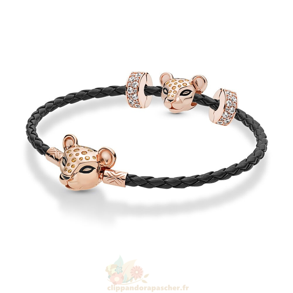 Discount Pandora Pandora Rose Leather Lioness Bracelets Ensemble