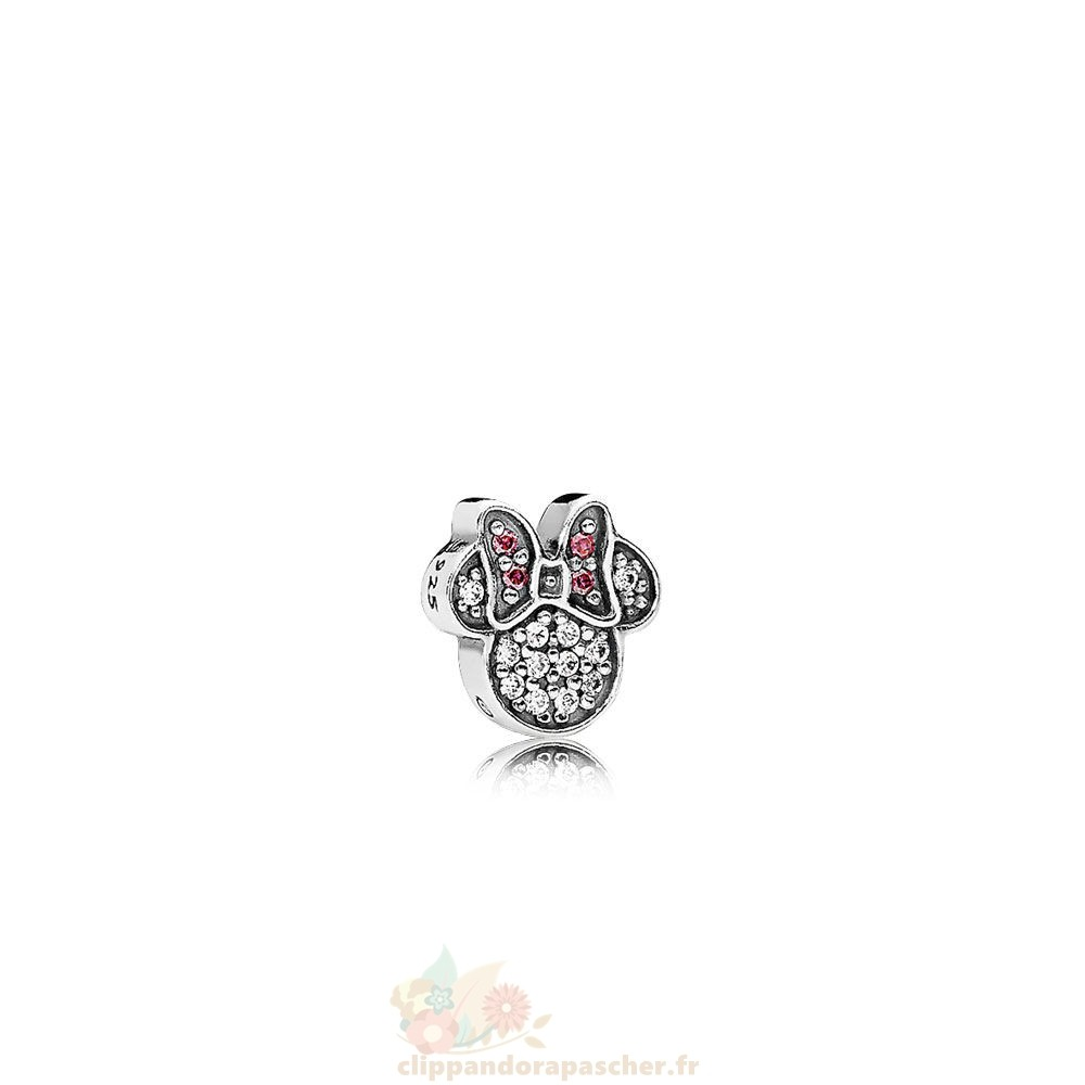 Discount Pandora Pandora Lockets Disney Maillot Minnie Icon Petite Charm Red Clear Cz