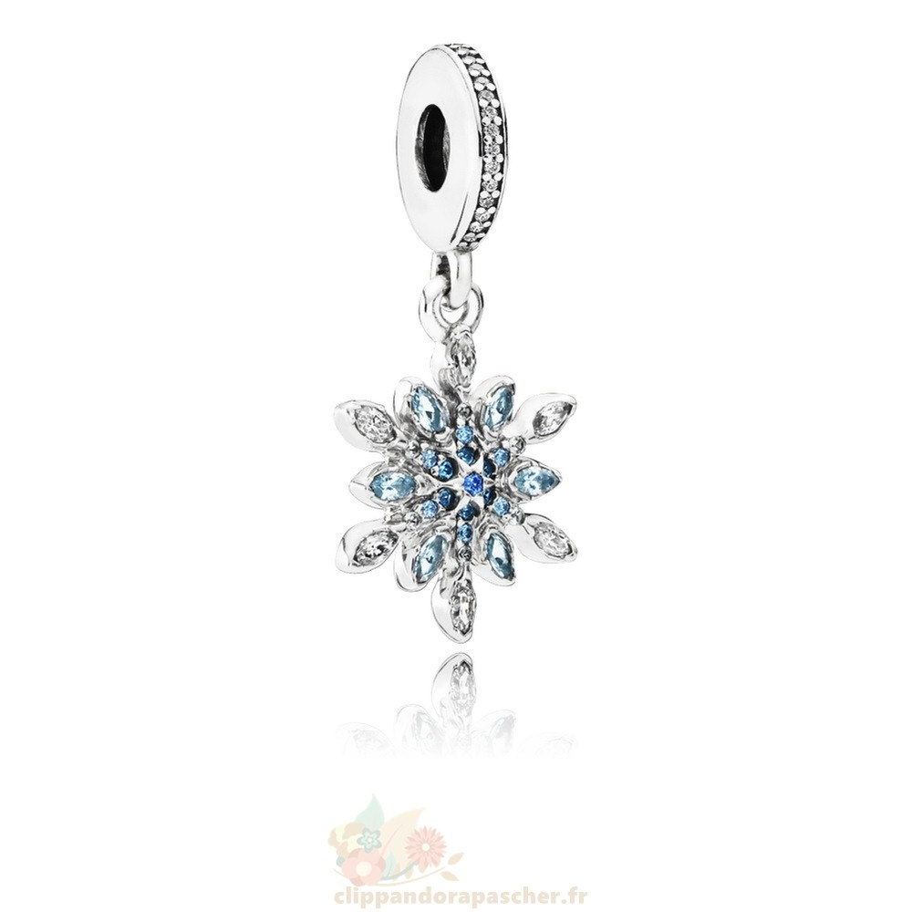 Discount Pandora Pandora Nature Charms Crystalized Snowflake Dangle Charm Blue Crystals Clear Cz