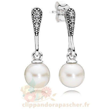 Discount Pandora Elegant Beauty Drop Boucles D'Oreilles Blanc Pearl Clear Cz
