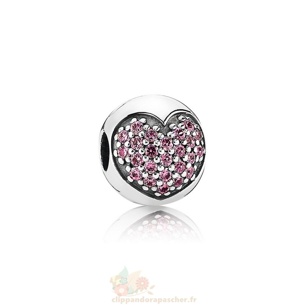 Discount Pandora Pandora Paillettes Paves Charms Amour De Ma Vie Clip Fancy Rose Cz