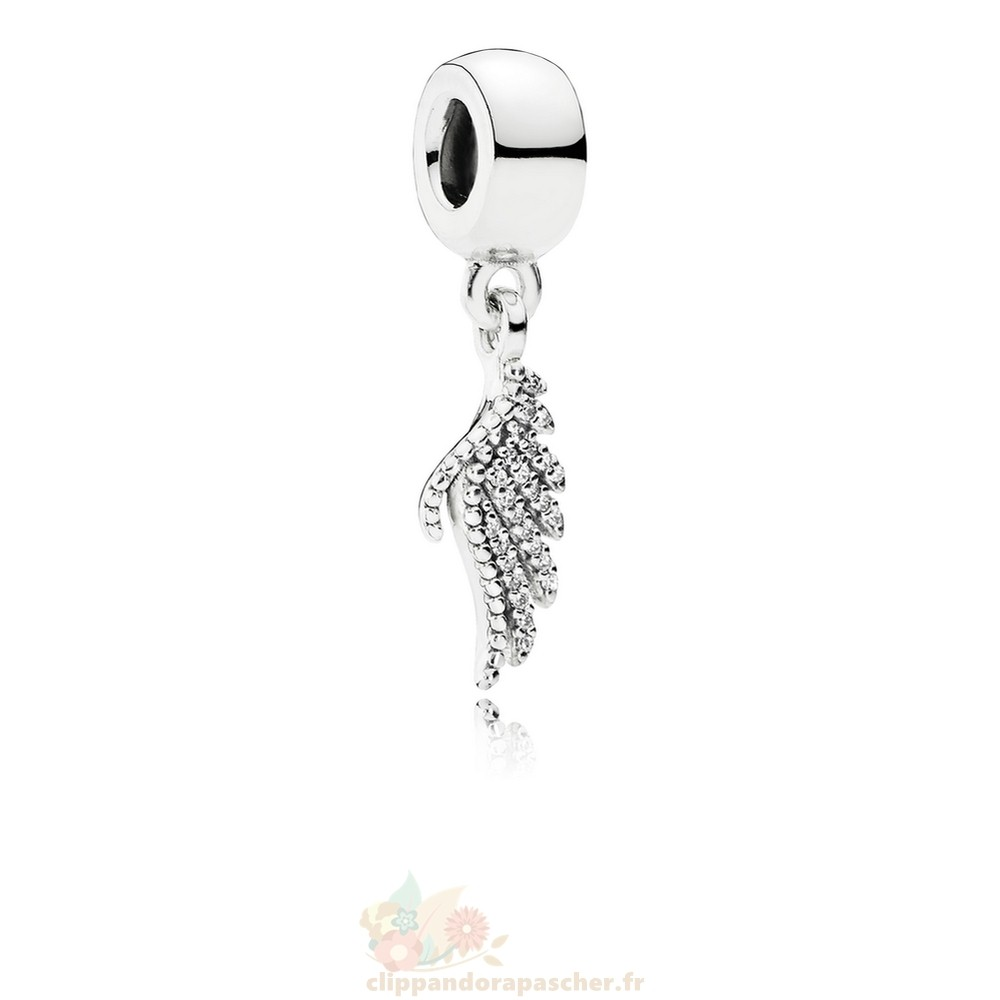 Discount Pandora Pandora Paillettes Paves Charms Majestic Feather Dangle Charm Clear Cz