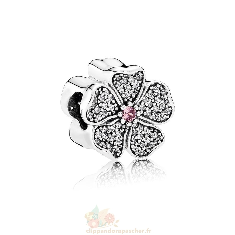 Discount Pandora Pandora Paillettes Paves Charms Petillant Pommier Fleur Pomme Blush Rose Crystal Clear Cz