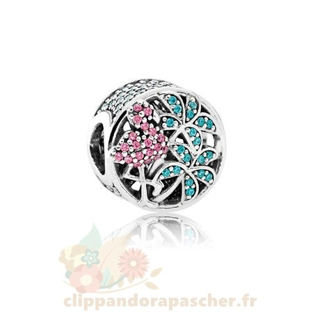 Discount Pandora Pandora Paillettes Paves Charms Tropical Flamant Rose Lumieres Vertes Cristaux Multicolores Cz
